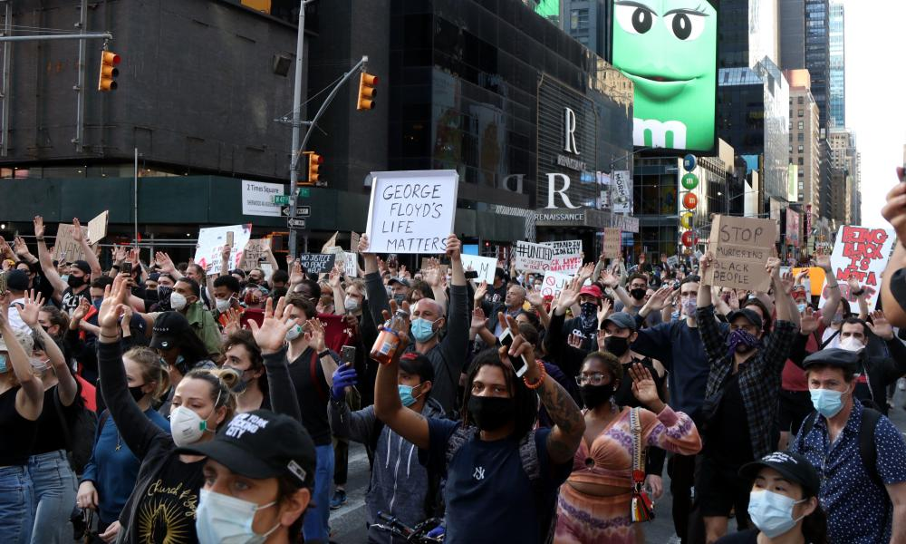 Large crowds of angry New Yorkers on the streets for multiple rallies, protests and marches in solidarity with the people of Minnesota over the death George Floyd