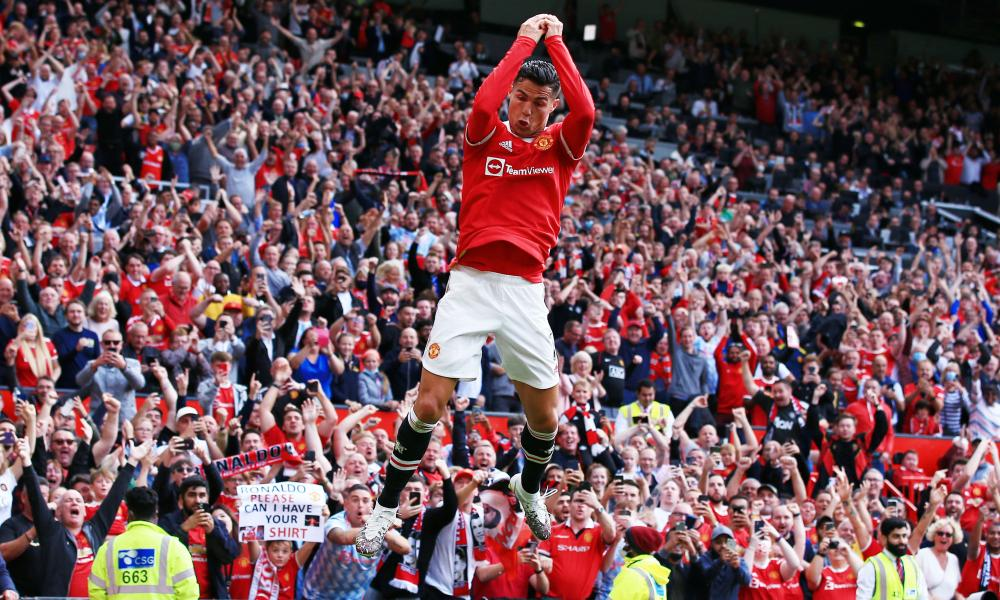 Cristiano Ronaldo celebrates scoring the opening goal of the game.