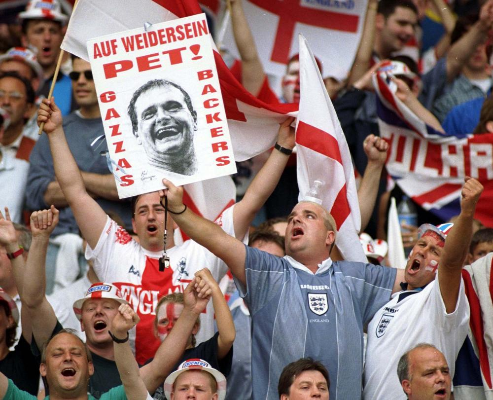 England Fans with a Paul Gascoigne Banner.