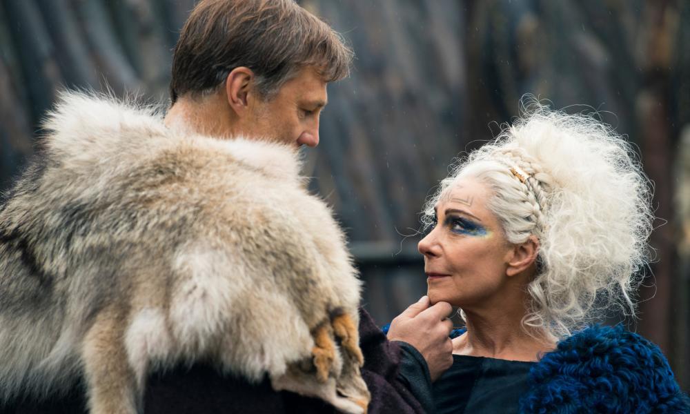 David Morrisey as Aulus and Zoë Wanamaker as Queen Antedia in Britannia.