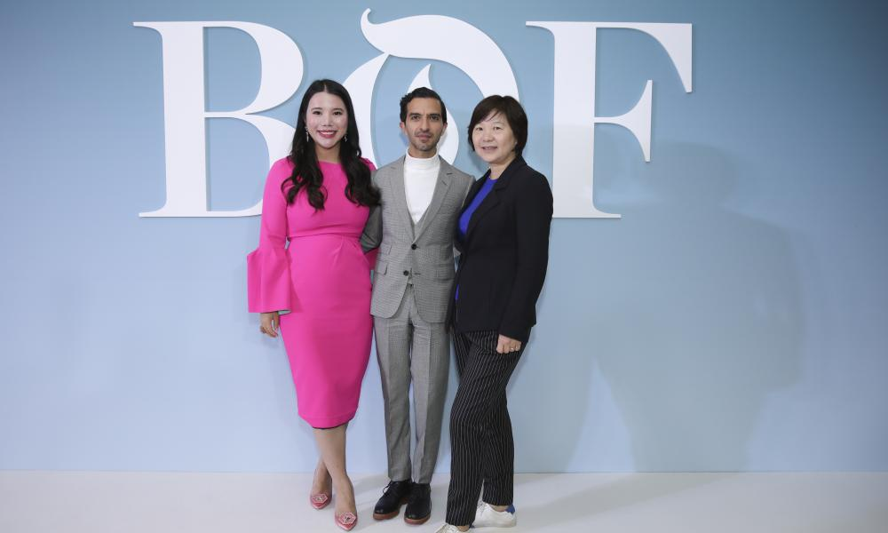 Wendy Yu, Imran Amed and Lv Xiaolei at the BoF China Summit during Shanghai fashion week, October 2018.