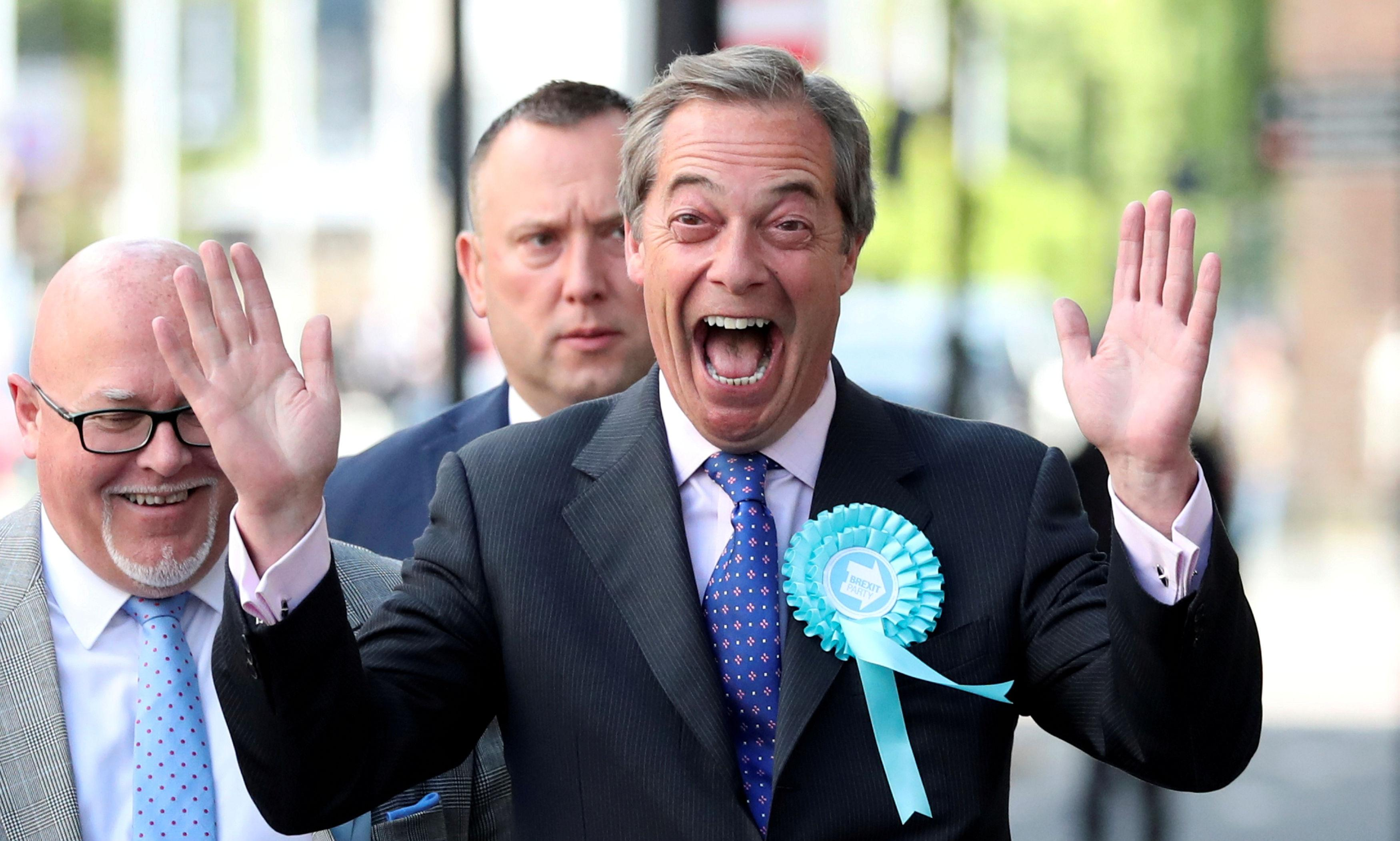 Nigel Farage shelters on campaign bus to avoid milkshake attack