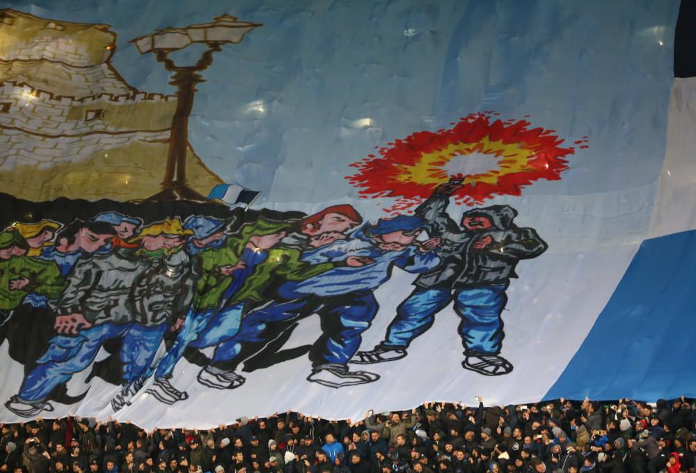 Detail on a giant banner displayed by the Napoli fans.