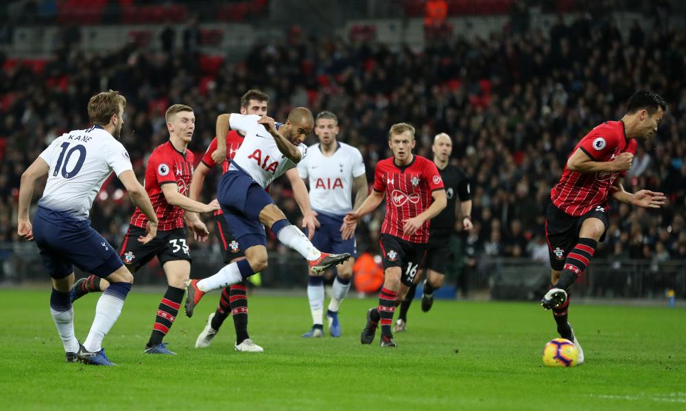 Lucas Moura hammers home Spurs' second.
