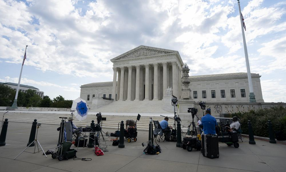 Television crews setting up outside the US Supreme Court earlier today.