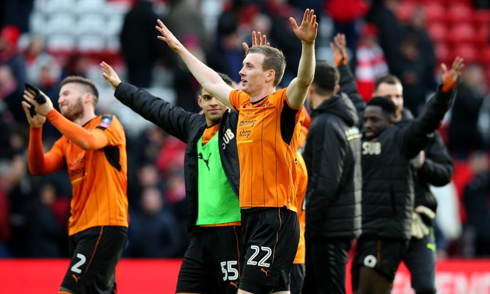 Bodvarsson leads his Wolves team's celebrations after they beat Liverpool in the FA Cup.