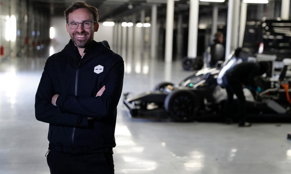 Bryn Balcombe, chief technical officer of Roborace, during a testing session at Silverstone.