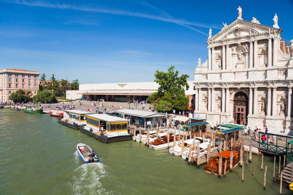 Venice train station, on the grand canal