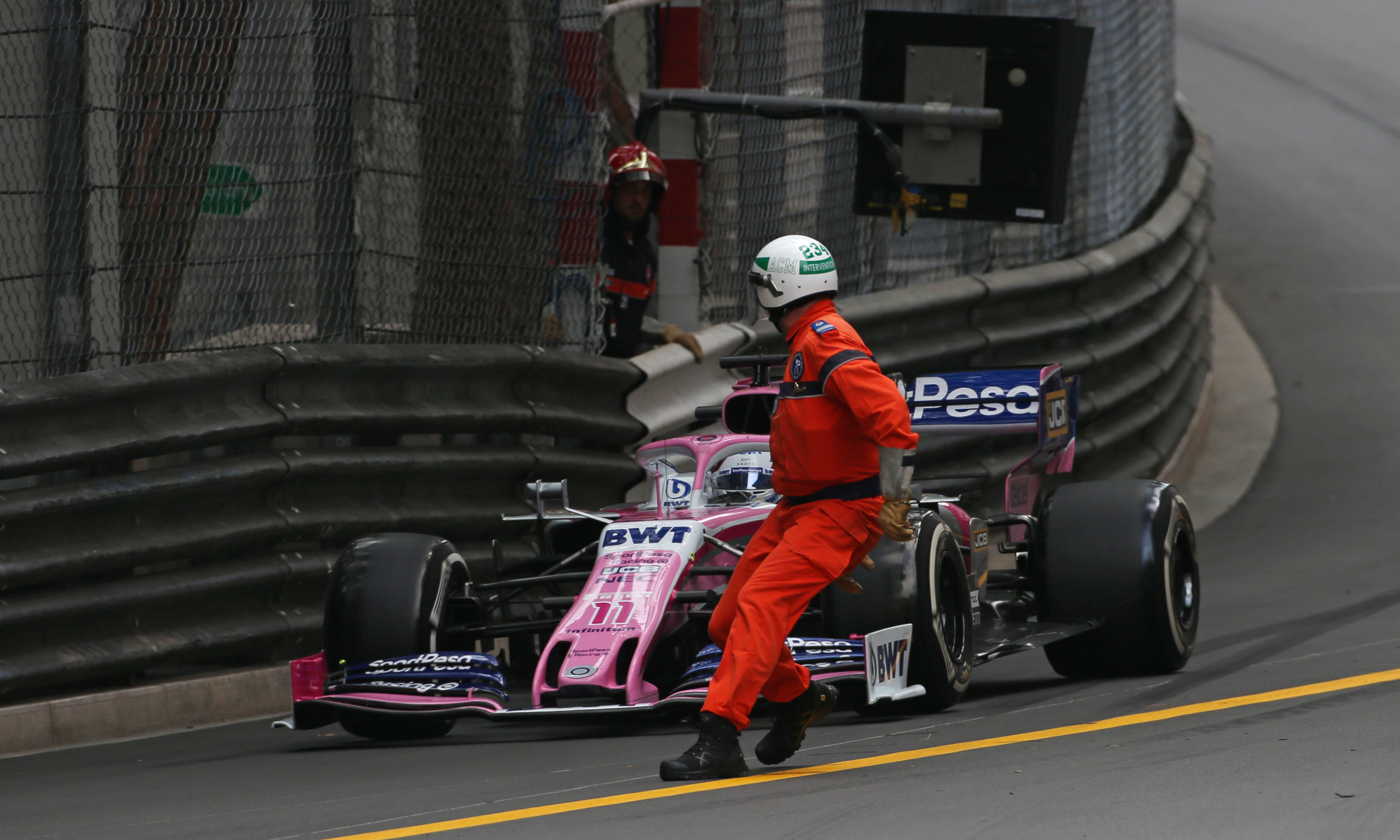 Sergio Pérez relieved after nearly running over marshal at Monaco GP