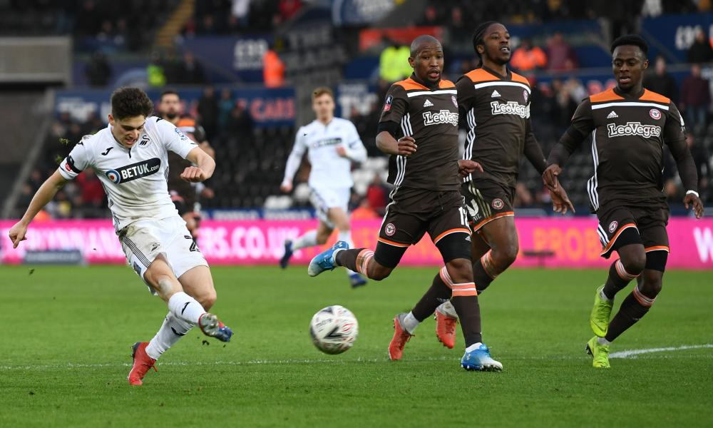 Dan James, here scoring a spectacular Cup goal against Brentford, is among the young players whose performances have pleased Graham Potter.