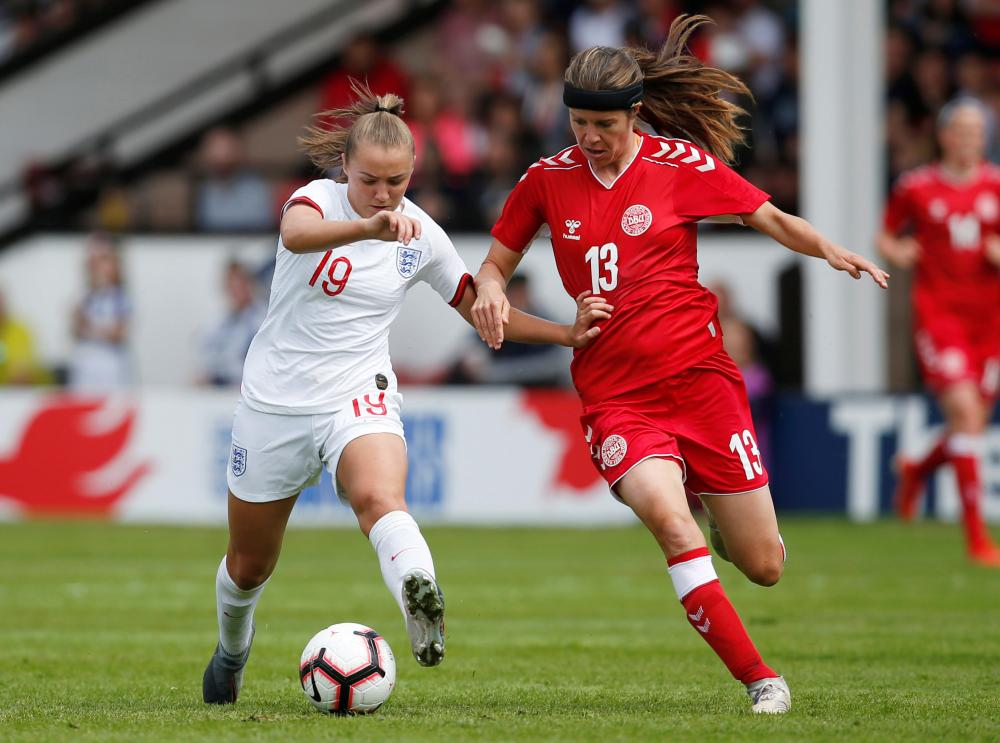 England's Georgia Stanway in action with Denmark's Sofie Junge