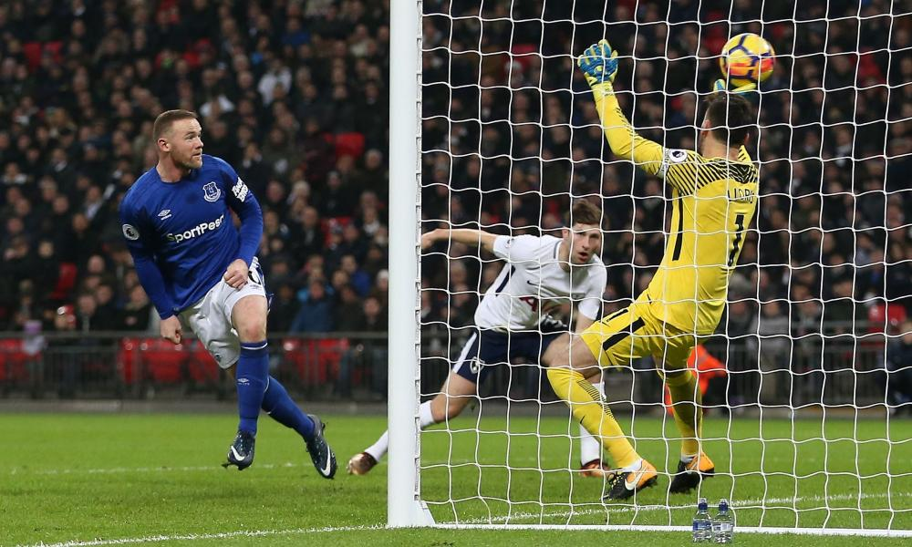 Wayne Rooney of Everton heads the ball home from an offside position and the goal is disallowed.