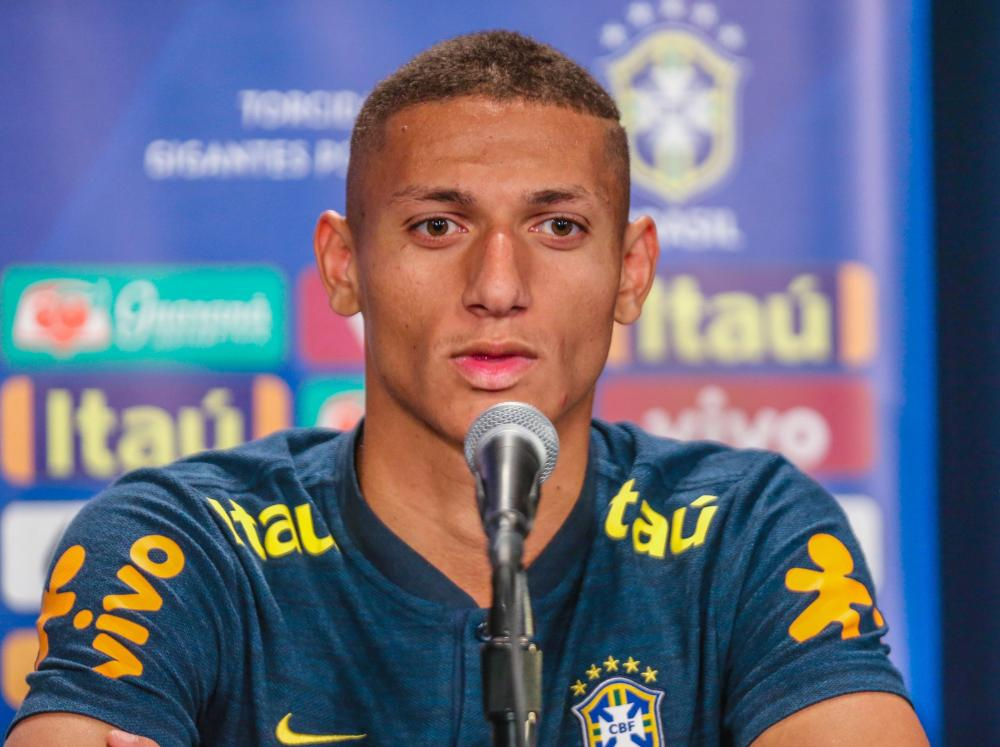 Richarlison talks to the media at a Brazil press conference in New Jersey.