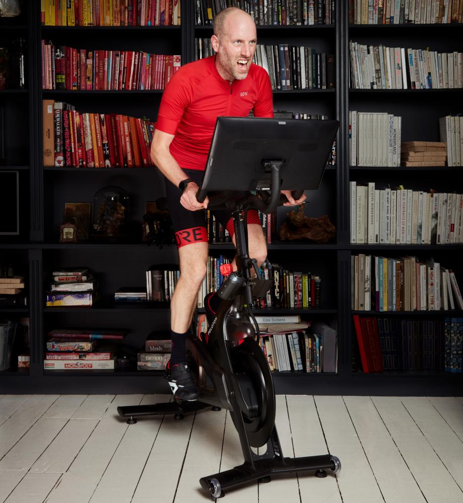 Simon Usborne virtual cycling with Peloton at home