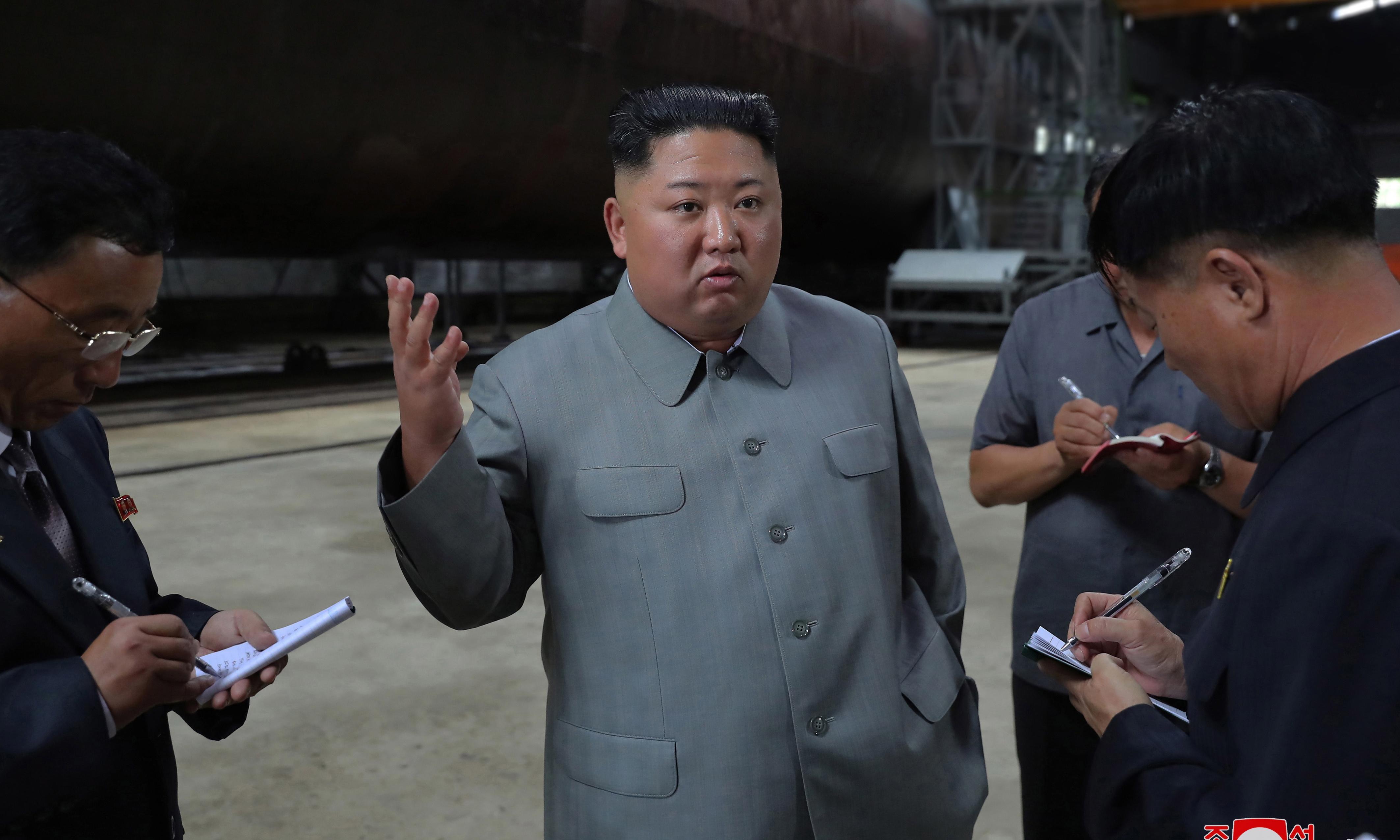 Kim Jong-un inspects new submarine, raising ballistic missile fears
