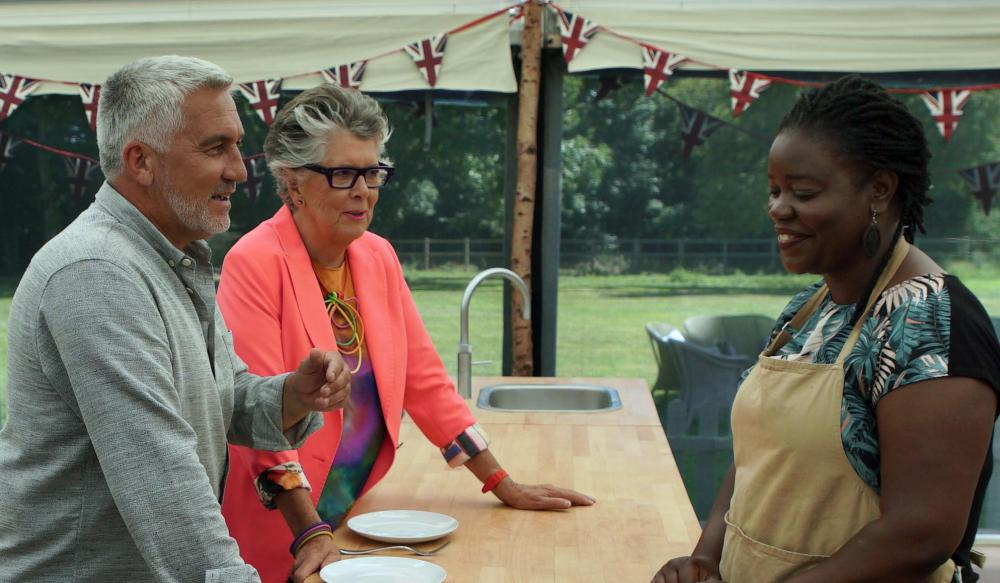 Paul and Prue with Hermine on The Great British Bake Off.