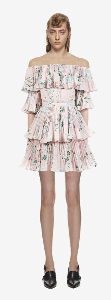 Floral printed tiered mini dress, £320, self-portrait-studio.com