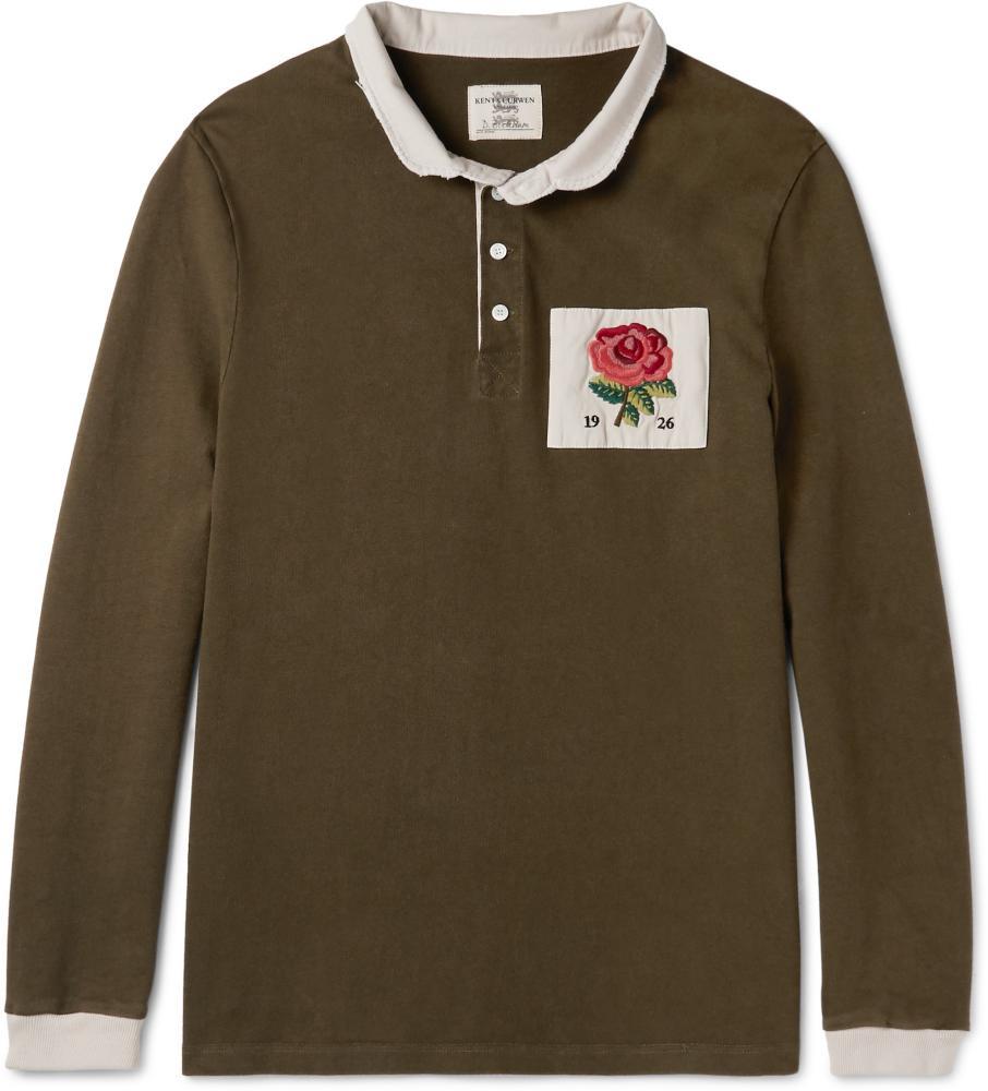 Appliquéd Cotton-Jersey Polo Shirt Kent & Curwen