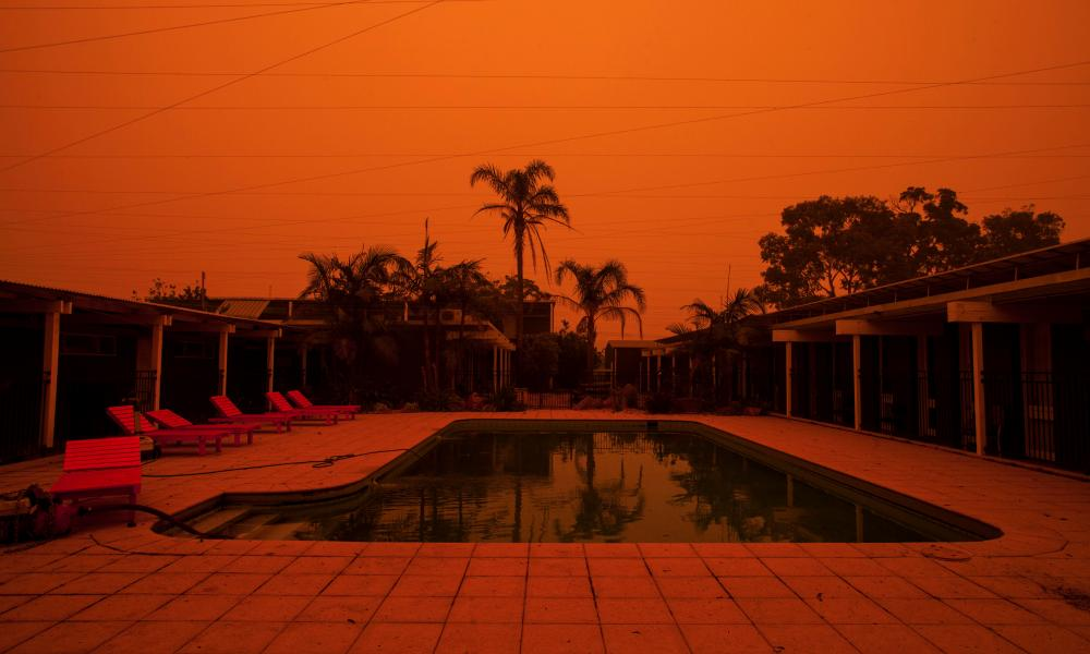 The blood-orange daytime sky in Mallacoota during the fires.
