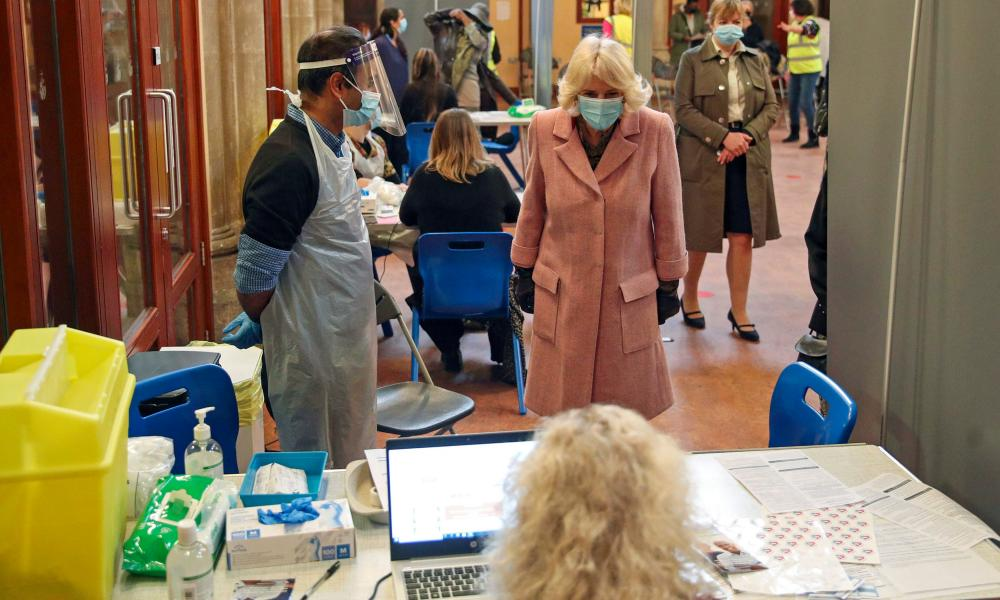 The Duchess of Cornwall visits a community vaccination centre in south London