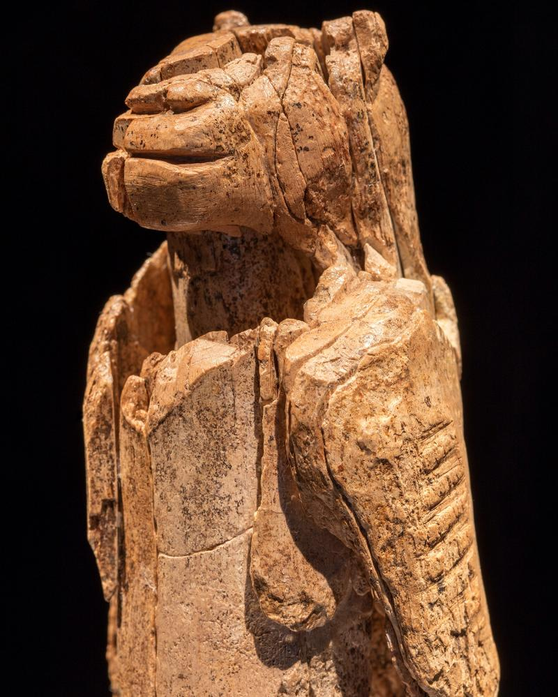 A 40,000-year-old sculpture carved from mammoth ivory representing a human body with a lion's head.
