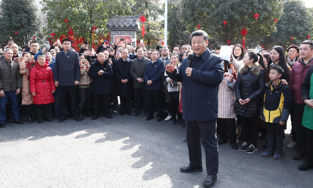 The Chinese president, Xi Jinping, in Zhanqi Village of Pidu District in Chengdu