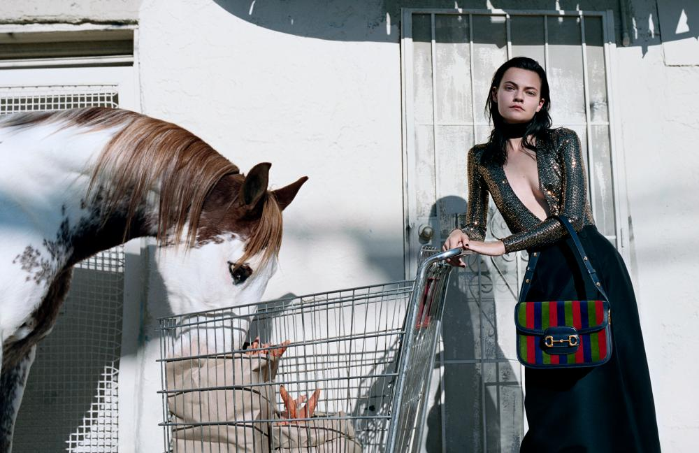 Imagining horses integrated into urban life … Gucci's SS20 campaign.