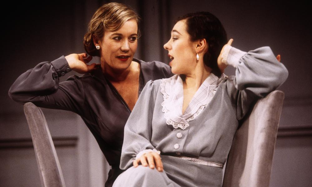 Sally Knyvette (Polly Cockpurse) and Annabelle Apsion (Lady Brenda Last) in the Palace theatre, Watford's adaptation of A Handful Of Dust.