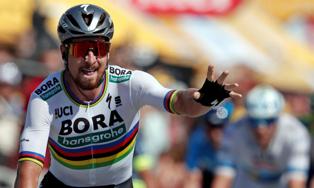 Peter Sagan winning the Tour de France stage two on 8 July.