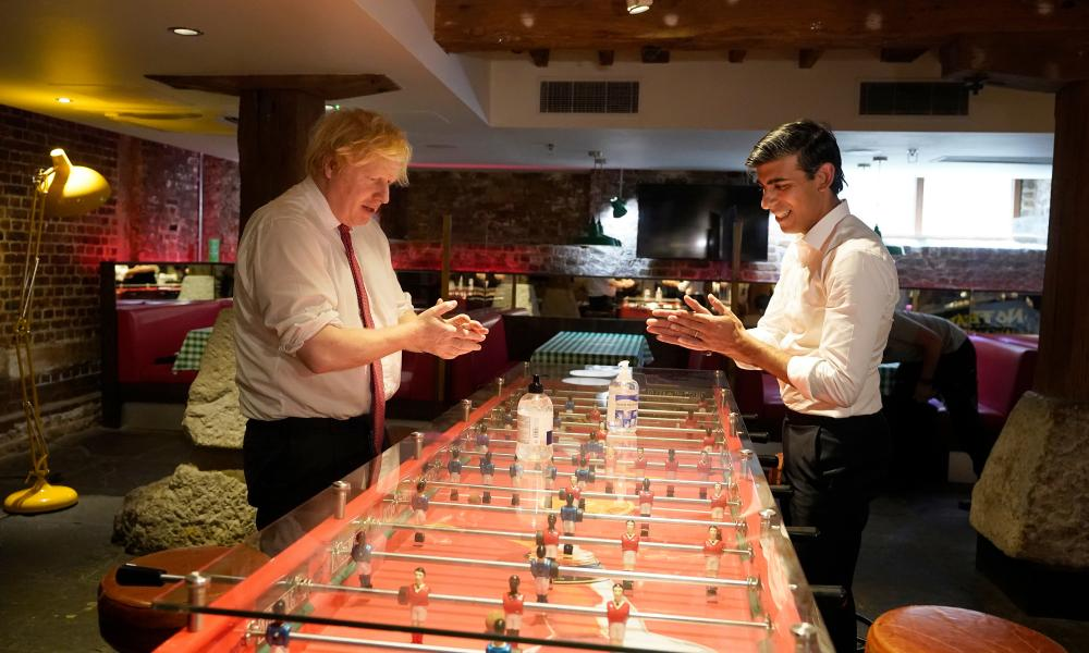 Boris Johnson and the chancellor, Rishi Sunak, visited Pizza Pilgrims in West India Quay in London today, ahead of pubs and restaurants reopening in July.