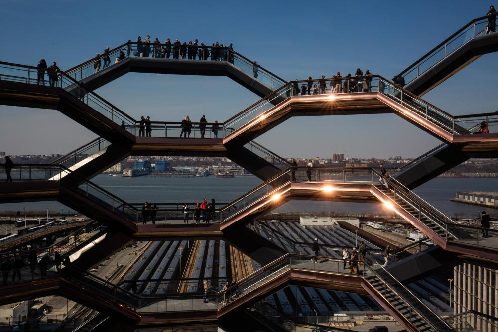 On the waterfront … Thomas Heatherwick's staircase sculpture Vessel, next to the Shed.