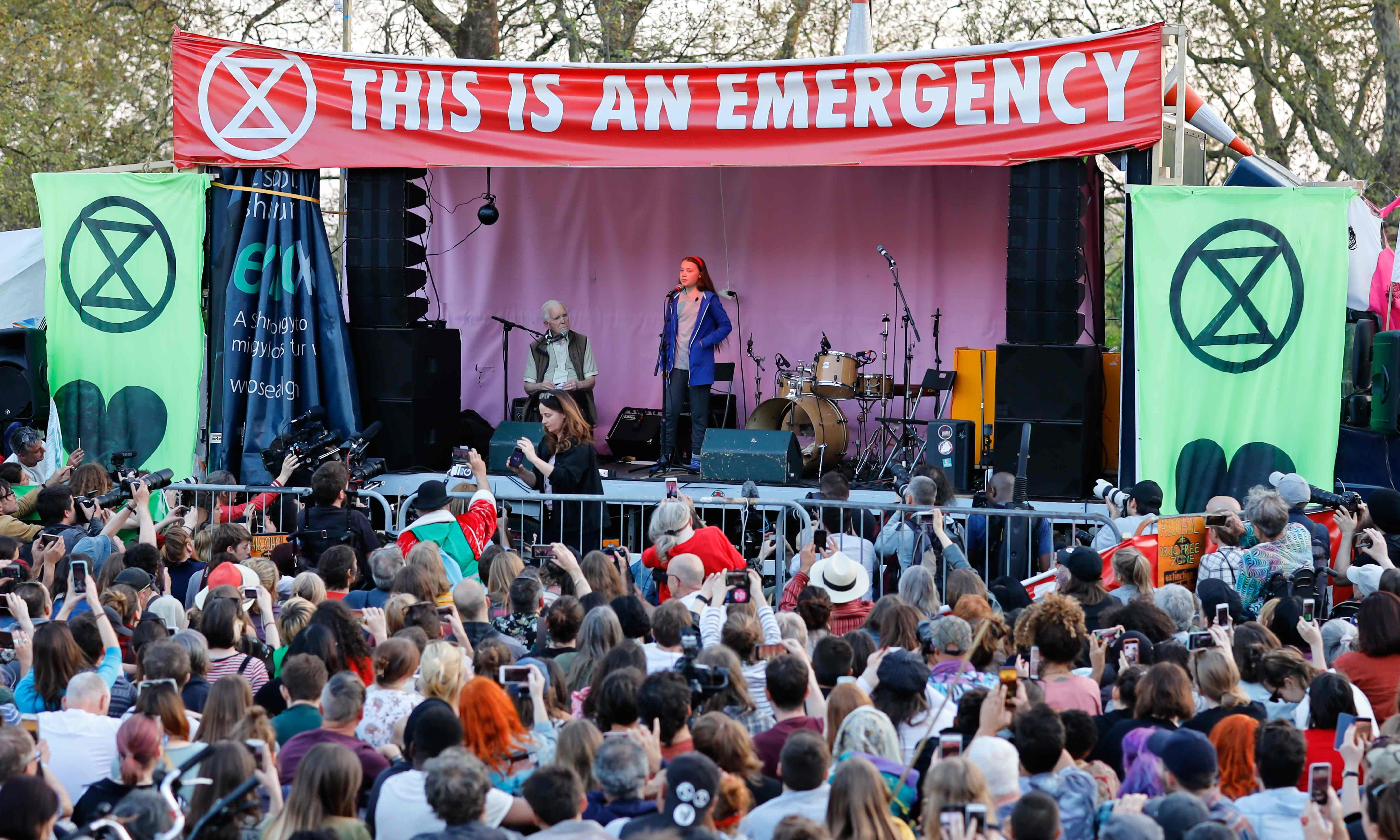 Humanity is at a crossroads, Greta Thunberg tells Extinction Rebellion