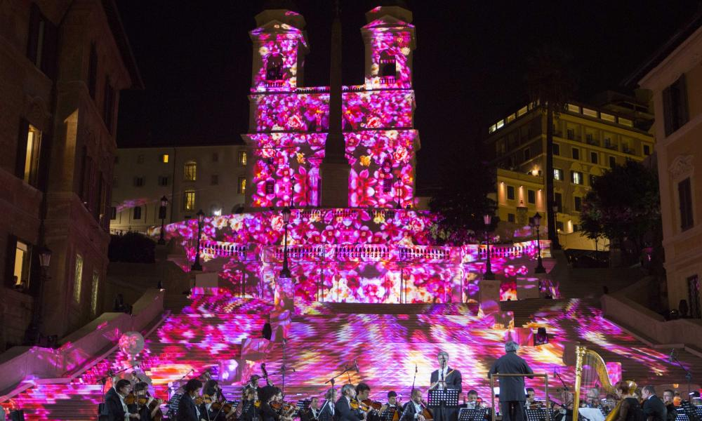 In the pink: the opening ceremony of the Spanish Steps after the restoration work financed by Bulgari.