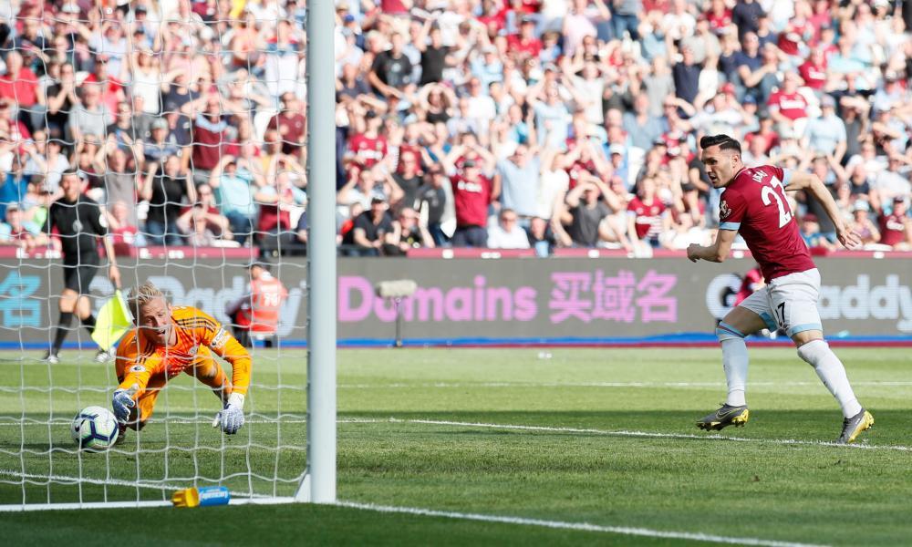 West Ham's Lucas Perez scores their second goal.