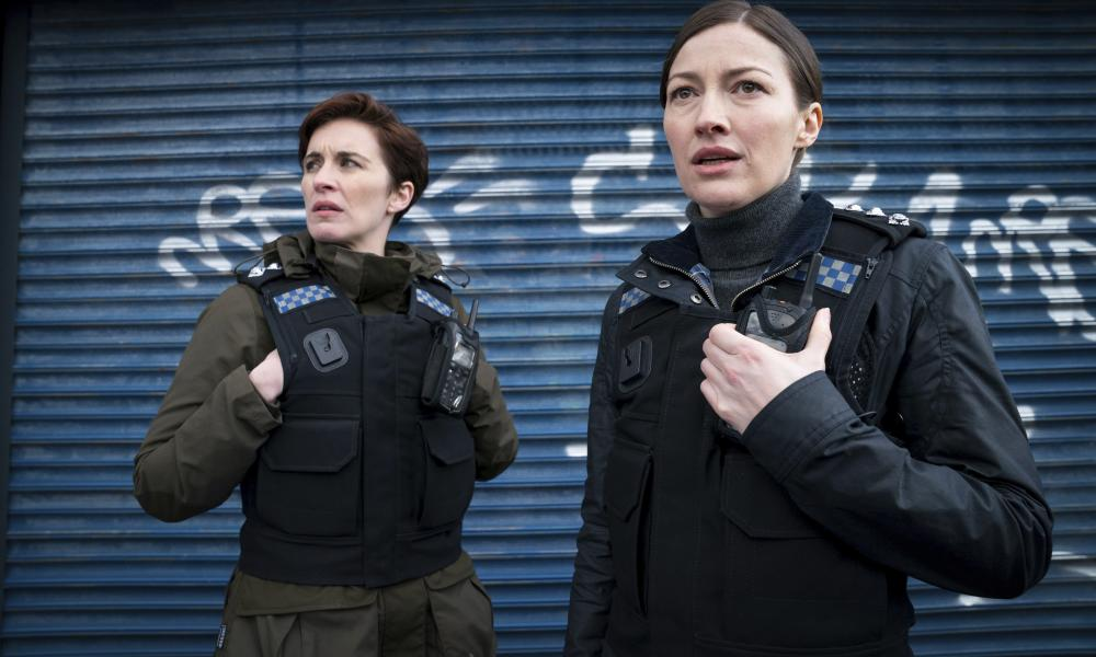 """Vicky McClure, left, and Kelly Macdonald in a scene from the BBC drama """"Line of Duty"""", the filming for which was delayed by the Covid pandemic."""