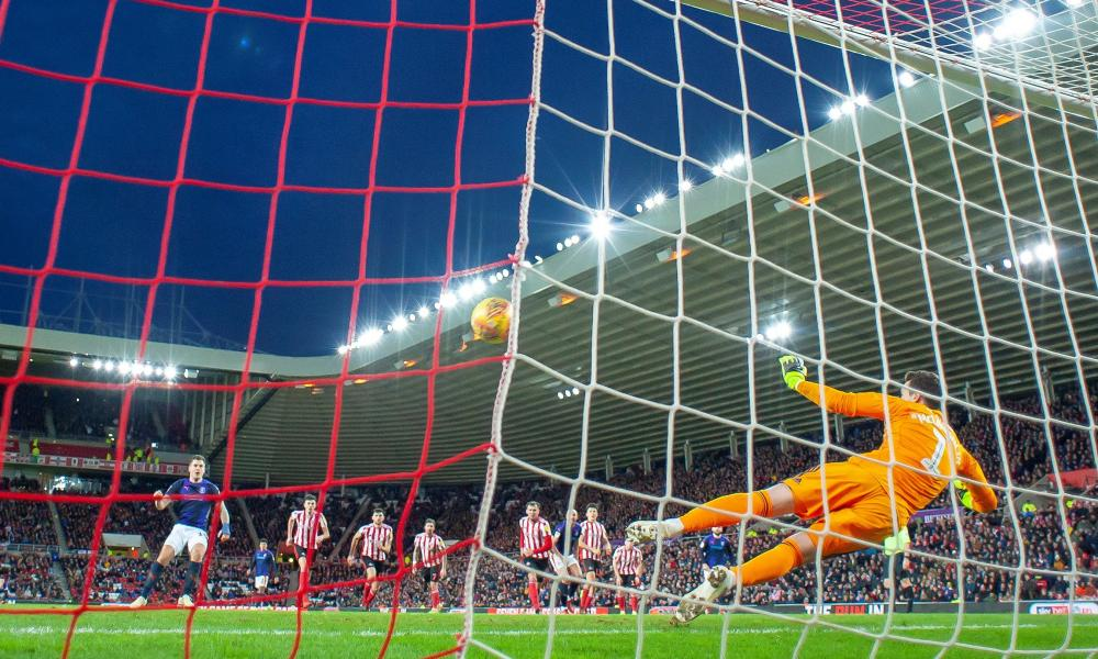 James Collins fires home his penalty against Sunderland, in front of 37,791 fans.