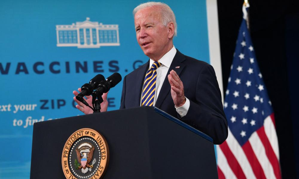 Joe Biden gives an update on the Covid-19 response and vaccination program, in the Roosevelt Room of the White House.