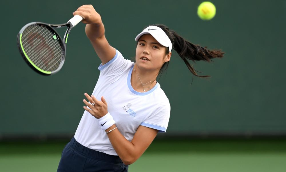 Emma Raducanu in practice at Indian Wells