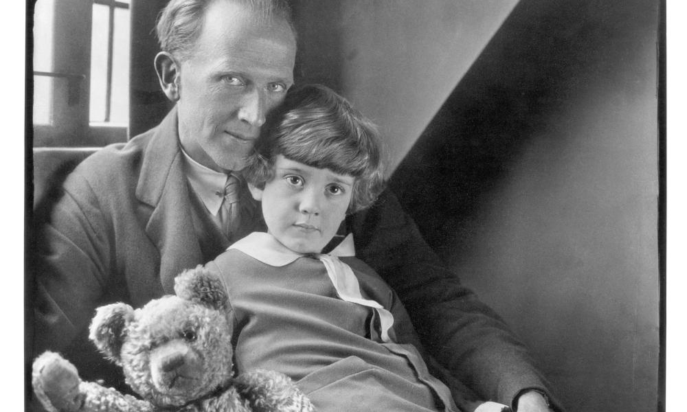 The author AA Milne with his son Christopher Robin and Edward the bear in 1926