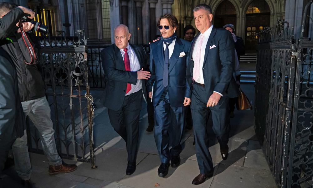 Depp leaves London's High Court in February, following a pre-trial hearing on his libel suit.