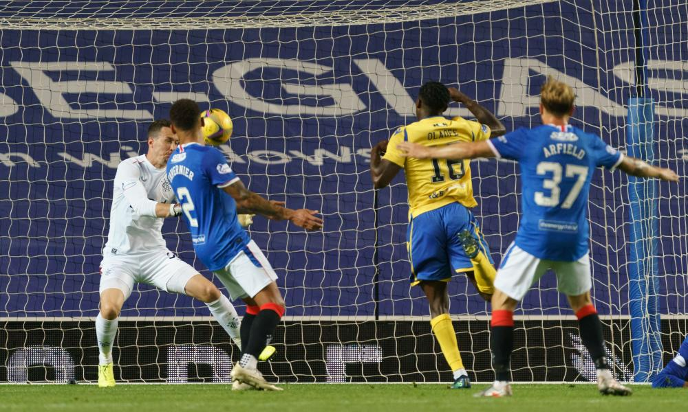 St Johnstone go close to scoring past Jonathan McLaughlin on 12 August.