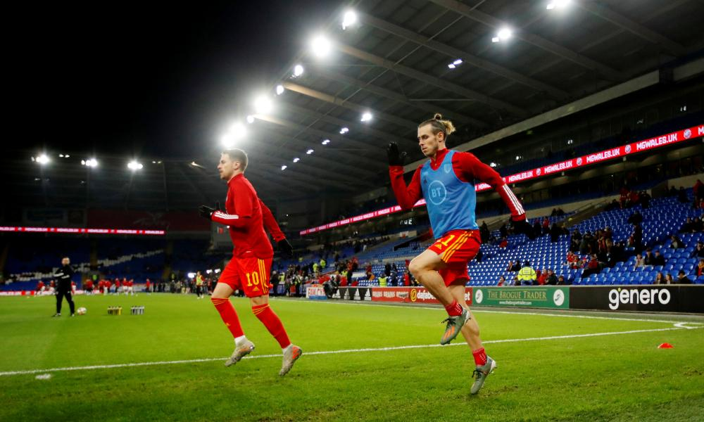 Ramsey and Bale warm up in Cardiff.