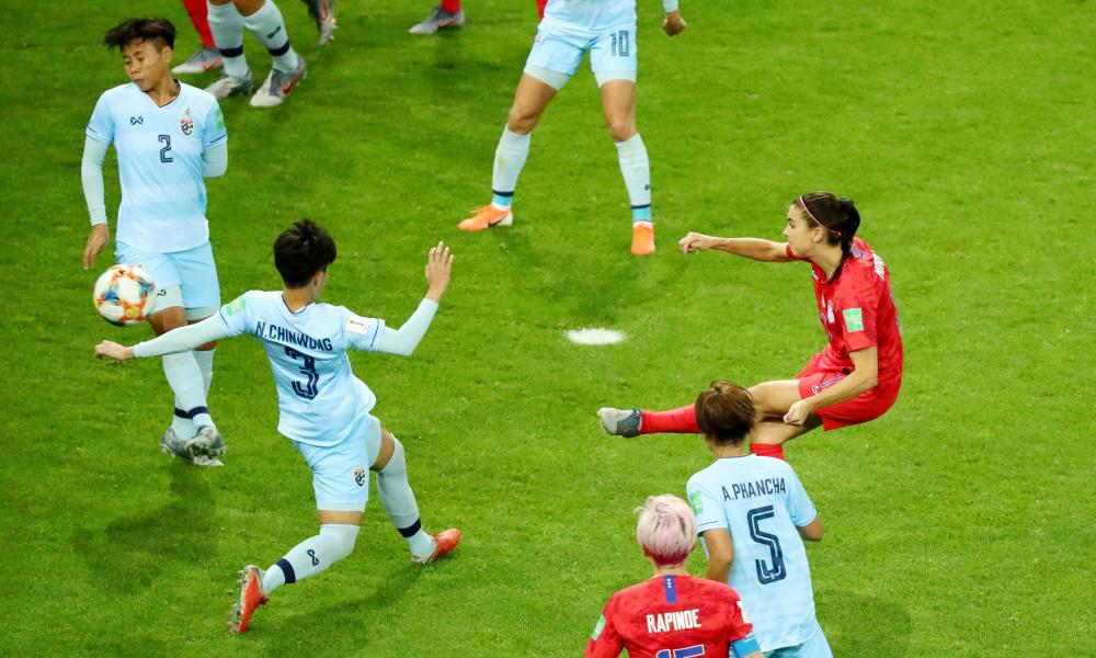 Alex Morgan of the US scores their tenth goal.