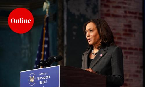 Vice President-elect Kamala Harris speaks during an event in December 2020
