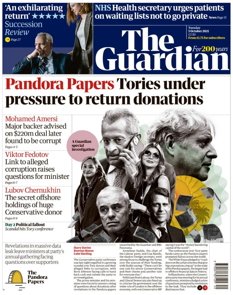Guardian front page, 5 October 2021