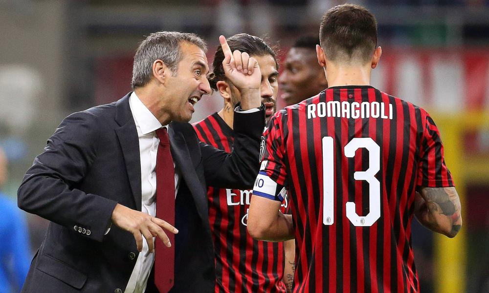 Milan's head coach Marco Giampaolo gives instructions to his players during the derby defeat.
