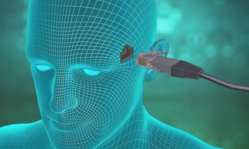 transhumanism D0N0YB Diagram showing a LAN cable entering a socket on the side of a human head.