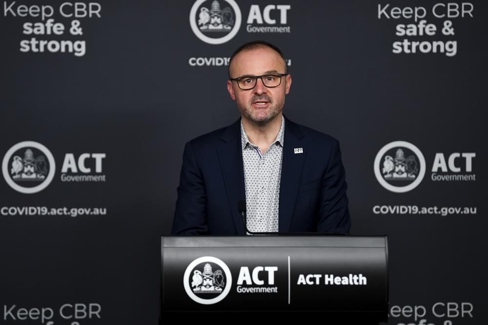 ACT Chief Minister Andrew Barr speaks to the media during a COVID-19 update in Canberra
