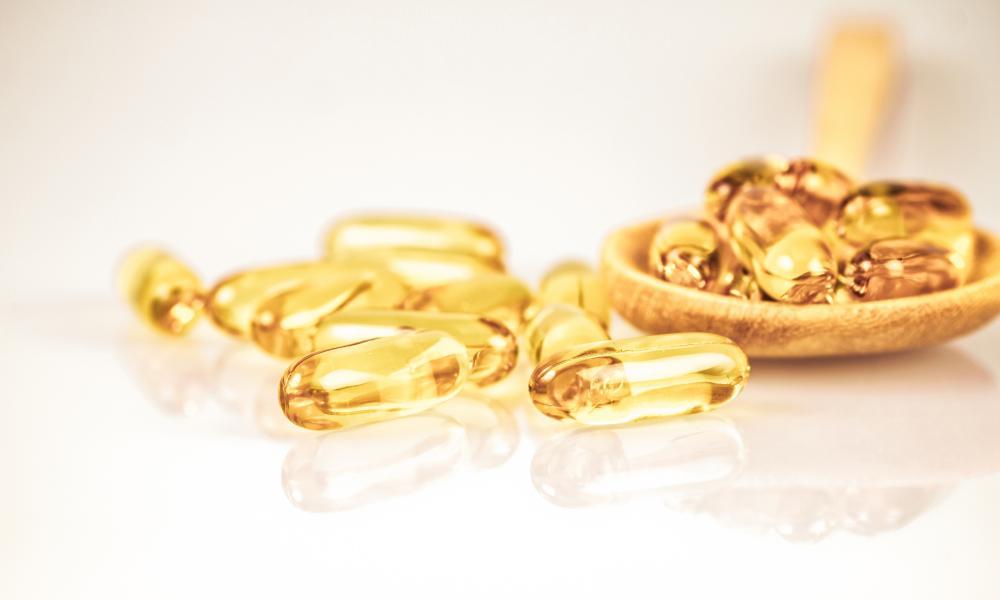 close-up of fish oil capsules