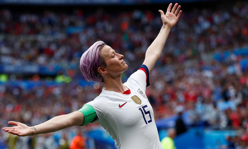 USA's Megan Rapinoe celebrates after scoring during the final match between USA and Netherlands at the FIFA Women's World Cup 2019 in Lyon, France.